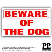 1 x Beware of the Dog Security Adhesive Vinyl Sticker- Home,Business,Property Warning Sign-EXTERNAL